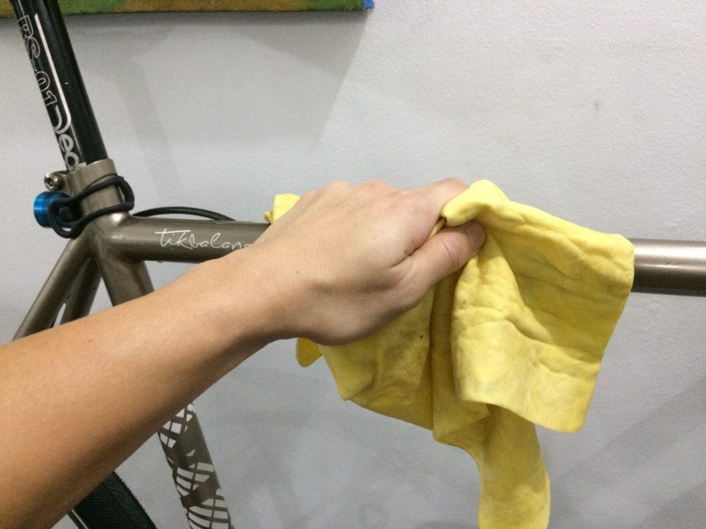 Wiping down a bike