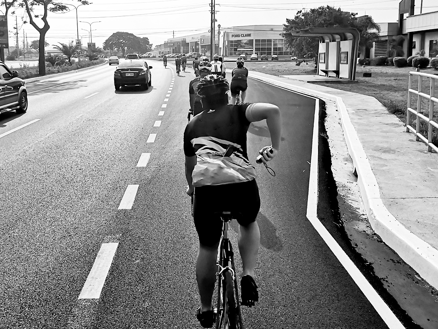 Cyclists at Clark Freeport