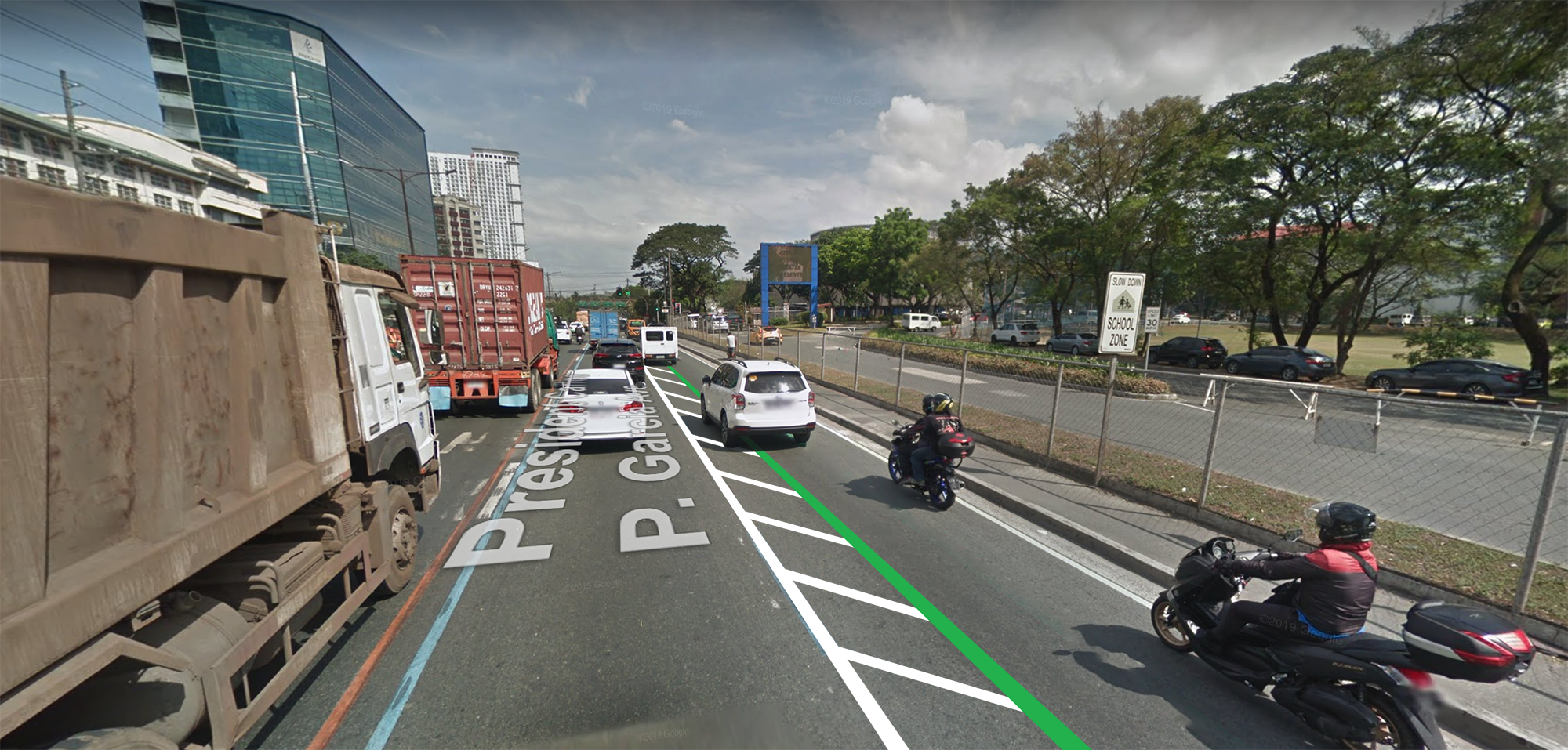 Katipunan Avenue buffer lane mockup
