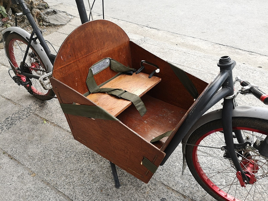 Compact Utility Bike (CUB) cargo box and toddler seat